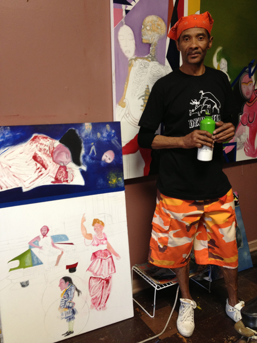 "Lennord Mullins with his work in progress ""the thinker the ponderer"""
