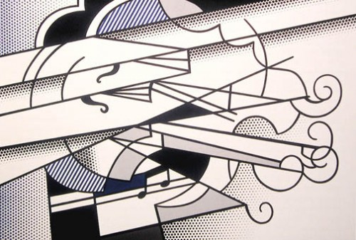 Roy Lichtenstein, The Violin, 1976. Oil paint and magna on canvas. Denver Art Museum;  Funds from Jan and Frederick R. Mayer, Mr. and Mrs. Aron B. Katz, Mr. and Mrs. Donald S. Graham, Mr. and Mrs. Mark Addison and Anonymous Donors. © Estate of Roy Lichtenstein.