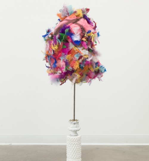 "Theresa Anderson ""objects for target practice"" feathers, paint, foam, textiles, lamp, 7 darts"