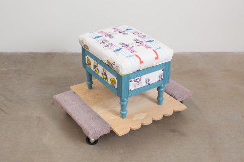 "Theresa Anderson stop my hustle brain/ lounging, 3, 2014; textile, stool, wood and furniture dolly 14"" x 12"" x 10"""