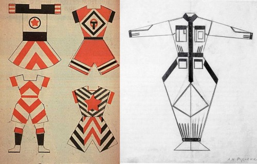 Left – sports clothing designs by Varvara Stepanova, right – workwear design by Alexander Rodchenko