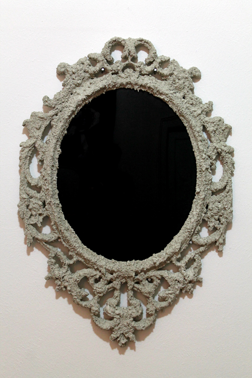 "Lucas McMahon ""Black Mirror,"" 2014 Cement, Metal Wire, Acrylic Glass"