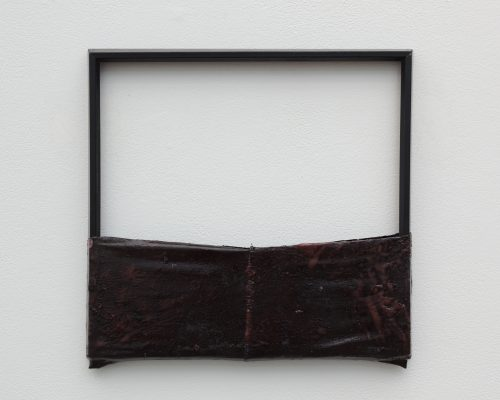"""object for safety/ object for target practice   found frame, pigmented foam on pantyhose 15 ½"""" x 15 ½"""""""
